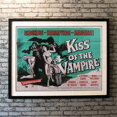 The Kiss of the Vampire is a stylish Hammer horror movie. Gerald and Marianne Harcourt's car breaks down and they have to spend a few days in a small, remote village. Dr. Ravna is the leader of a vampire cult, and he has become astonished by Marianne's beauty... This is a rare country of origin UK quad from the first release in 1963. Car Breaks, Original Movie Posters, Country Of Origin, Macabre, Horror Movies, Quad, 1960s, Remote, Kiss