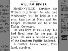 obit for William Guy Sevier