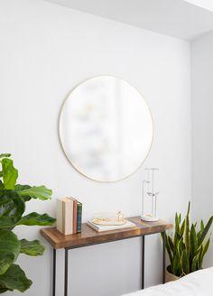 Umbra Hubba Wall Mirror | Shop Modern Round Mirrors Large Round Wall Mirror, Circular Mirror, Round Mirrors, Bathroom Wall Decor, Bedroom Wall, Bedroom Ideas, Bedroom Decor, Modern Contemporary, Mirror Shop
