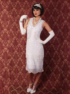 d01ffd6fb54 1920s Marcelle White Beaded Fringe Flapper Dress