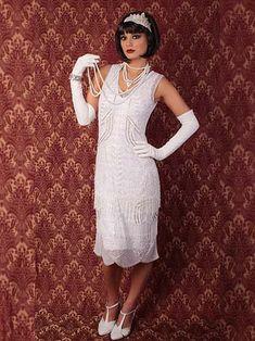20's Style White Beaded Flapper Dress - Great for 1920s Inspired Brides! #bluevelvetvintage
