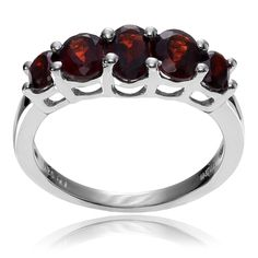 Journee Collection Sterling Silver Garnet 5-stone Ring (Garnet- 8), Women's, Red