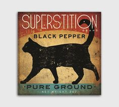 BLACK CAT Pepper Vintage Style Spice Ad - Stretched Canvas Wall Art by Ryan Fowler  THE ITEM PICTURED IS LARGER TO SHOW DETAIL.  Perfect for your