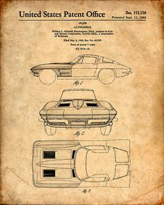 Patent Print of a Corvette Stingray Patent Art by VisualDesign