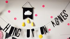 mini banner wall hanging wool felt cloud pennant by Hung Up On Agnes