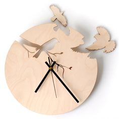 Flights of Fancy Birch Quartz Wall Clock