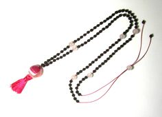 Tassel necklace-Knotted necklace-Faceted agate-Rose quartz-Black lava-Long necklace-Greek jewelry-Handmade jewelry-Tassel jewelry-For her by PlanetEarthHandmade on Etsy