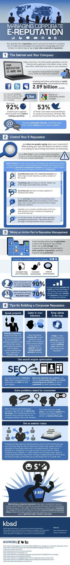 How Should You Manage Your Company's E-Reputation? #infographic