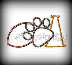 Pawprint Football Cheer Embroidery Applique Design