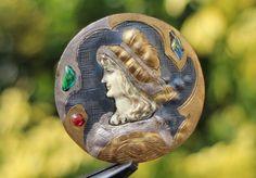 RARE 3 ANCIEN BOUTON ART NOUVEAU - TÊTE DE FEMME ~ argent,dorure,pierre,etc,