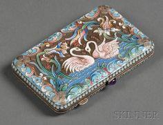 Russian Enameled Silver Cigarette Case, bearing marks for M. Pastukhov, .84…