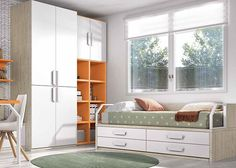Dormitorio juvenil con compacto de 4 cajones grandes.