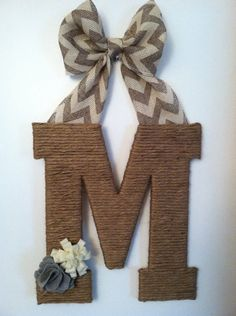 Chevron and twine letter by musingsofahomemaker on Etsy, $28.00