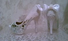Crystal Pearl and Mirror Shoes by sillydi on Etsy, $215.00