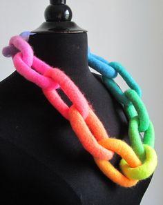 Felt Necklace. Pastel Neon Rainbow Necklace by HandiCraftKate, $60.00