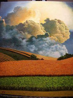 Thunderstorm Clouds Rain Field Farm by LindaSturmFineArt on Etsy