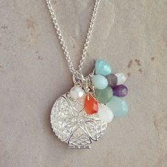 Diffuser Necklace - Multi gemstone briolettes on silver plated chain and locket on Etsy, $35.00