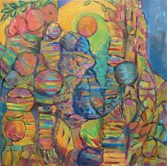 """Rock Quarry With Apple Tree.  Acrylic On Canvas 30"""" x 30""""  2013"""