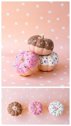 """DIY Donut Pumpkin Tutorial from Studio DIY. Easy DIY using fake pumpkins and paint. Have you noticed that every few months something has a """"moment""""? From foxes to pineapples to donuts. For more of my..."""
