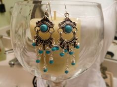 Bohemian Chandelier Turquoise Seed Bead Earrings           FREE SHIPPING. $12.00, via Etsy.