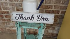Rustic THANK YOU Sign - Cute for Wedding Thank Cards - Great way to say Thank you in a Wedding Photo. Nice Photo Prop for Thank You Cards by TrashFindRedesigned on Etsy
