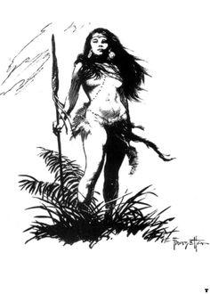 frank-frazetta-bw-womanwithspear-1979258483.jpg (856×1200)