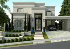French Country Houses Exterior, Classic House Exterior, Country Home Exteriors, Modern Exterior House Designs, Modern House Facades, Classic House Design, Modern Architecture House, Model House Plan, My House Plans