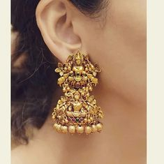 Wedding Earrings Beautiful Temple Earring Design Indian Goddess Statue To Buy - 9586221777 Gold Jhumka Earrings, Indian Jewelry Earrings, Jewelry Design Earrings, Indian Wedding Jewelry, Gold Earrings Designs, Gold Jewellery Design, Temple Jewellery, Bridal Jewelry, Handmade Jewellery