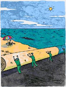 A startled man in a beach chair looks up as a ground crew rolls up the bea… - New Yorker Cartoon by: Danny Shanahan -- Would make a neat writing prompt! Writing Pictures, Picture Writing Prompts, Spanish Practice, Teaching Spanish, Creative Writing, Neat Writing, How To Write Neater, New Yorker Cartoons, The New Yorker