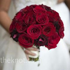 Elegant Round Wedding Bouquet Of Red Roses