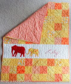 These two fantastic quilts were made by Lyn from What A Hoot for her hairdressers children. Great colors and the incorporation of the big brother elephant on the baby girl's quilt is precious! #Aurifil 40wt was used for quilting for that extra durability to endure lots of love!   To read more about these quilts please visit http://whatahootquilts.blogspot.com/2014/11/tgiff-link-up-is-here-finished-set-for.html