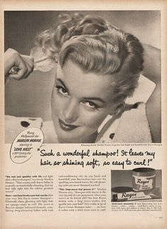 Large Antique 1951 Marilyn Monroe Shampoo Advertising Magazine Print Ad - Approx…