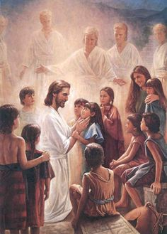 Art work of Jesus with Children as the Angels Look On - by Del Parsons. Beautifully Captured the Gentleness of Jesus and how Approachable He is.