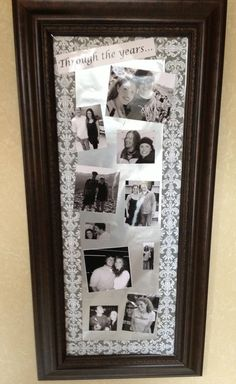 The Sparkled Life ~ How to use a mirror frame to create a picture collage for a bridal shower