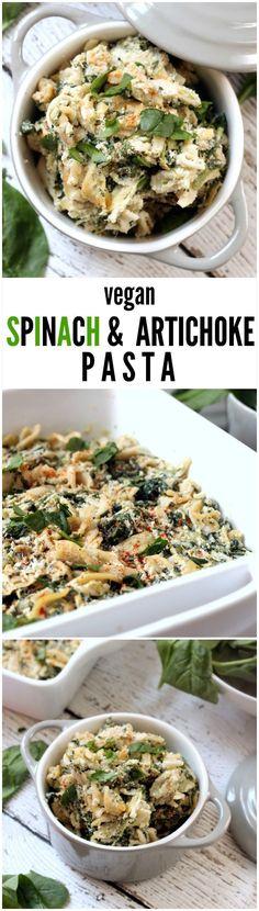 Vegan Spinach and Artichoke Pasta | Hummusapien