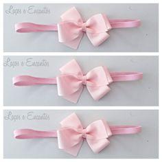 Headband/faixa de cabelo com laço em gorgurao rosa. <br>pode ser feito em elastico ou bico de pato. <br>10% de desconto nesse valor caso o pagamento seja deposito em conta.