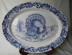 HUGE Thanksgiving Turkey Blue English Transferware Platter Tonquin Clarice Cliff Autumn Foliage, via Etsy. Blue And White China, Blue China, Love Blue, Vintage Thanksgiving, Thanksgiving Turkey, Thanksgiving Blessings, Happy Thanksgiving, Turkey Plates, Turkey Dishes