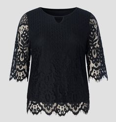 65ab9ebd723 Women's Plus Size Scalloped Floral Lace Keyhole Tunic Top with Full Lining