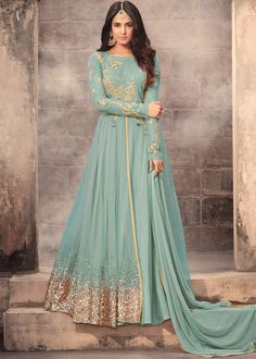 #Blue full sleeved #abaya style layered #kameez in #net enhanced by #embroidery, stone work and sequinned border.