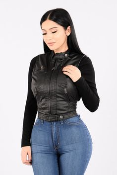 - Available In Black And Camel - Moto PU Leather Vest - Fitted - Faux Fur Lining - Knit Side Insert For Stretch - Zipper Front Closure - Functional Zipper Pockets - Shell - 96%Polyvinyl Chloride 4% Po