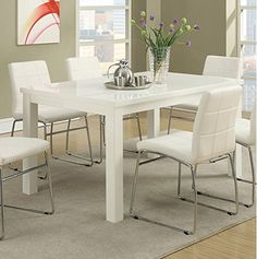 High Gloss White Wood Finish Dining Table by Poundex