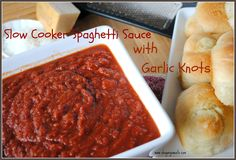 Slow Cooker Spaghetti Sauce with Garlic Knots- delicious #spaghetti sauce that simmers all day in the crockpot, with easy #garlic knots on the side! www.shugarysweets.com