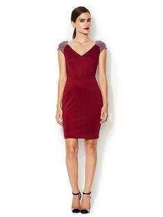 Jersey Studded Shoulder V-Neck Dress by Alexia Admor at Gilt