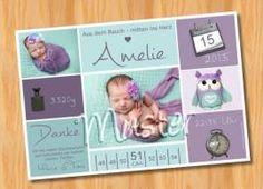 Danksagungskarten Geburt Geburtskarte MUSTER 146 - Bild vergrößern