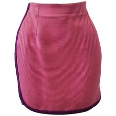 Preowned Chic Gianni Versace Dark Pink Ribbed Mini Skirt With Magenta... ($490) ❤ liked on Polyvore featuring skirts, mini skirts, red, purple mini skirt, versace, red mini skirt, short red skirt and ribbed skirt