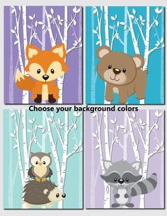 Woodland Nursery Art Kids Wall Art Baby Girl Nursery Baby Boy Birch Tree Forest Fox Bear Raccoon Hedgehog Owl Set of 4 Wall Art Prints