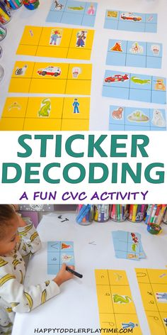 Here is a fun consonant-vowel-consonant activity your kindergartner will love! Figure out the words by decoding the stickers! Motor Skills Activities, Educational Activities For Kids, Indoor Activities For Kids, Infant Activities, Kids Learning, Kindergarten Homework, Kindergarten Activities, Preschool Activities, Early Literacy