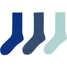 UNIQLO Socks - 3 Pairs (95 CNY) ❤ liked on Polyvore featuring intimates, hosiery, socks, cotton socks, uniqlo, uniqlo socks and crew length socks