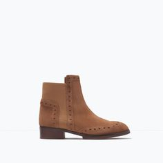 Image 1 of BROGUE LEATHER ANKLE BOOTS from Zara