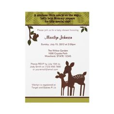 Willow Deer Baby Shower Invitation forest woodland from http://www.zazzle.com/willow+deer+baby+shower+invitations